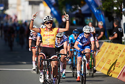 Coryn Rivera (USA) wins sprint finish at Lotto Thuringen Ladies Tour 2018 - Stage 3, a 131 km road race starting and finishing in Schleiz, Germany on May 30, 2018. Photo by Sean Robinson/Velofocus.com