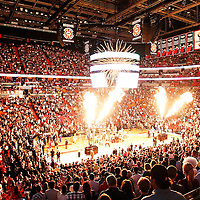21 January 2012: Fire flames burst during the Miami Heat players introduction prior to the Miami Heat 113-92 victory over the Philadelphia Sixers at the AmericanAirlines Arena, Miami, Florida, USA.