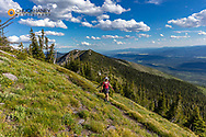 Hikinjg on the Whitefish Divide Trail near Werner Peak, Stillwater State Forest, Montana, USA  MR