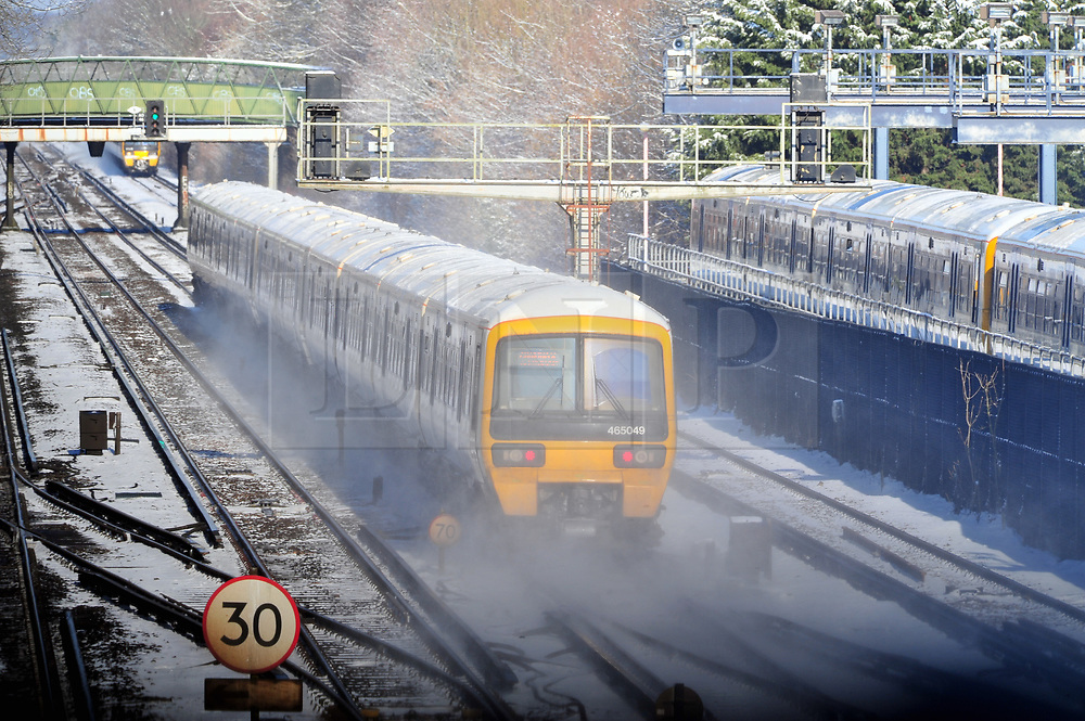 © Licensed to London News Pictures.28/02/2018<br /> Orpington, UK.<br /> Train leaving for London in a haze of snow.<br /> A hand full of trains leaving Orpington Train Station in Kent for London as the snow causes travel chaos on the rails.<br /> More heavy snow overnight as the winter weather continues in Orpington, Kent.<br /> Photo credit: Grant Falvey/LNP