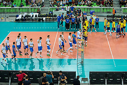 Teams of Slovenia and Brasil during friendly volleyball match between national teams of Slovenia and Brasil in Arena Stozice on 9. September 2015 in , Ljubljana, Slovenia. Photo by Grega Valancic / Sportida