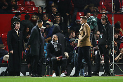 Former Manchester United player Rio Ferdinand works on the touchline for BT Sport with colleagues Jermaine Jenas and Jake Humphrey - Mandatory by-line: Matt McNulty/JMP - 18/11/2017 - FOOTBALL - Old Trafford - Manchester, England - Manchester United v Newcastle United - Premier League