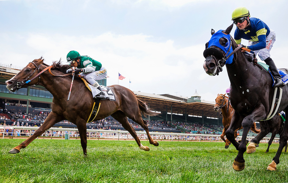 """June 13 2015: Talco with Rafael Bejarano up wins the Shoemaker Mile, a part of the Breeders' Cup """"Win and you're in"""" series  at Santa Anita Park in Arcadia CA. Alex Evers/ESW/CSM"""
