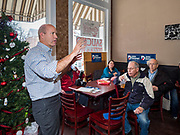 03 JANUARY 2020 - MONTEZUMA, IOWA: JOHN DELANEY speaks during a campaign stop in a cafe in Montezuma, IA. Delaney, a former Democratic Congressman from Maryland, was the first Democrat to declare his candidacy for President in 2020, He has held more than 400 campaign events in Iowa since declaring his candidacy. Iowa traditionally holds the first selection event of the presidential election cycle. The Iowa Caucuses are Feb. 3.     PHOTO BY JACK KURTZ