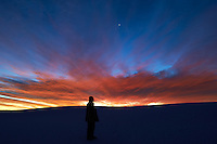 Self Portrait - Moon over White Sands National Monument at Dawn. Image taken with a Nikon D4 and 24 mm f/1.4G lens (ISO 400, 24 mm, f/5.6, 2 sec).