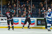 KELOWNA, CANADA - OCTOBER 23:  Jack Cowell #8 and <br /> Mark Liwiski #9 of the Kelowna Rockets celebrate a goal against the Swift Current Broncos on October 23, 2018 at Prospera Place in Kelowna, British Columbia, Canada.  (Photo by Marissa Baecker/Shoot the Breeze)