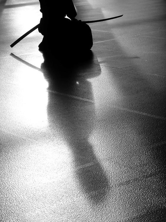 The shadow of a Iaidoka (Iaido practicioner) is projected on the floor of the dojo during early morning practice