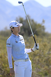 March 22, 2019 - Phoenix, AZ, U.S. - PHOENIX, AZ - MARCH 22: Sung Hyun Park watches her drive of the seventh hole during the second round of the Bank of Hope LPGA Golf Tournament at the Wildfire Golf Club at JW Marriott Phoenix Desert Ridge Resort & Spa, March 22, 2019 in Phoenix, Arizona (Photo by Will Powers/Icon Sportswire) (Credit Image: © Will Powers/Icon SMI via ZUMA Press)