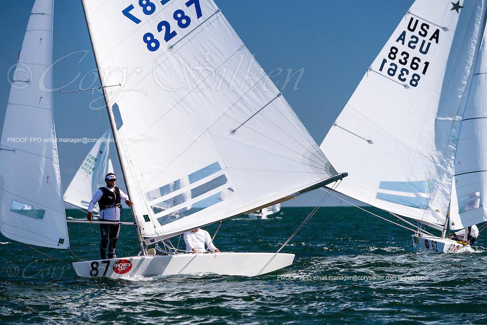 8287 Star Class sailing in Bacardi Miami Sailing Week, day one.