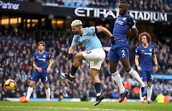 Manchester City's Sergio Aguero scores his side's third goal of the game during the Premier League match at the Etihad Stadium, Manchester.