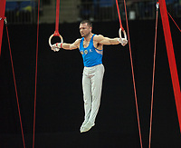 Matteo ANGIOLETTI (ITA), competes in the rings, The London Prepares Visa International Gymnastics, Olympic Test Event, North Greenwich Arena, London, England January 12, 2012.