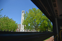 Memorial Belltower as seen from a Wolfline bus headed down Pullen Road.