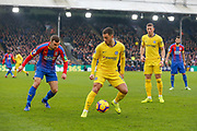 Chelsea midfielder Eden Hazard (10) and Crystal Palace midfielder James McArthur (18) during the Premier League match between Crystal Palace and Chelsea at Selhurst Park, London, England on 30 December 2018.