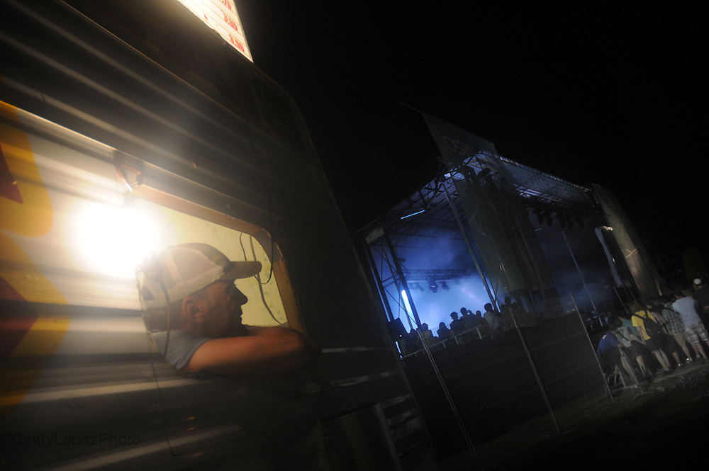 A food truck gets a great spot next to the stage at Osheaga 2012. (Published in Midnight Poutine, 2012)