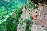 Myan Smith-Gobat on a project, Second Band, Redstein Crag, Redstone, Colorado
