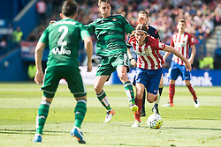 02.04.2016, Estadio San Mames, Bilbao, ESP, Primera Division, Athletic Club vs Real Betis, 31. Runde, im Bild Atletico de Madrid's Filipe Luis and Real Betis's Fabian and Molinero // during the Spanish Primera Division 31th round match between Athletic Club and Real Betis at the Estadio San Mames in Bilbao, Spain on 2016/04/02. EXPA Pictures © 2016, PhotoCredit: EXPA/ Alterphotos/ Borja B.Hojas<br /> <br /> *****ATTENTION - OUT of ESP, SUI*****