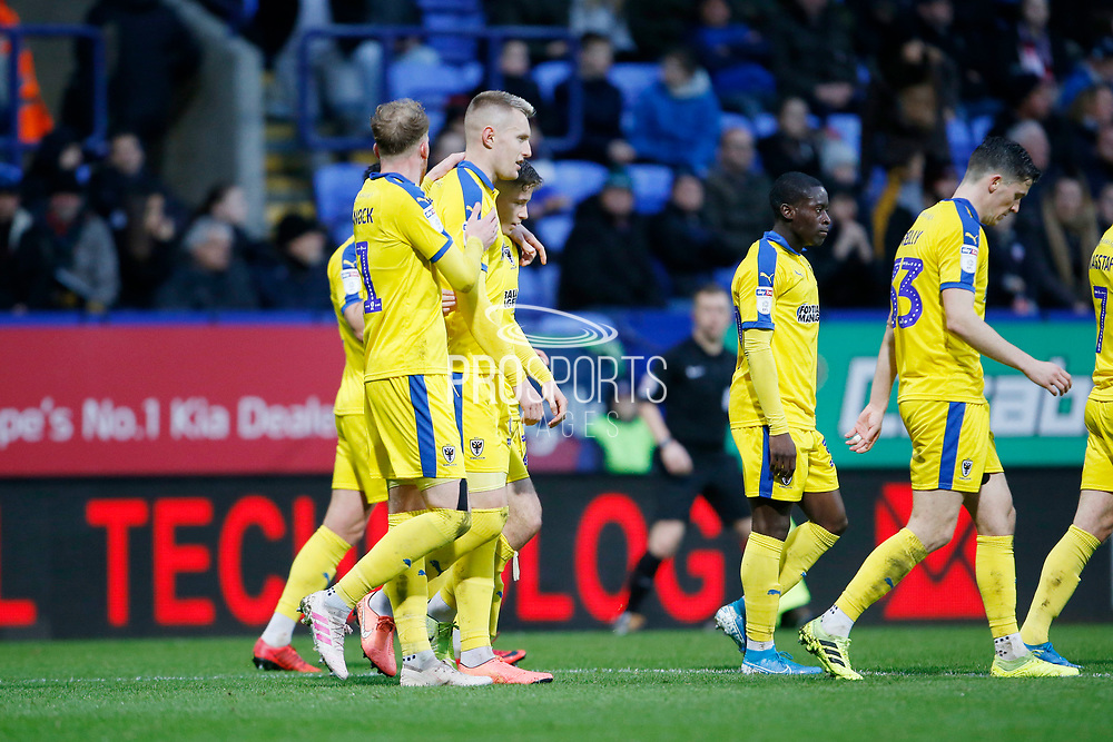 0-1, goal celebration by Marcus Forss of Wimbledon during the EFL Sky Bet League 1 match between Bolton Wanderers and AFC Wimbledon at the University of  Bolton Stadium, Bolton, England on 7 December 2019.