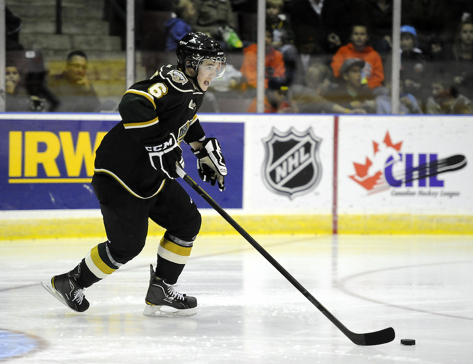 Scott Harrington of the London Knights. Photo by Aaron Bell/OHL Images