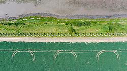 Aerial view of Second World War era anti-tank blocks at Hedderwick in Dunbar in East Lothian, Scotland, UK