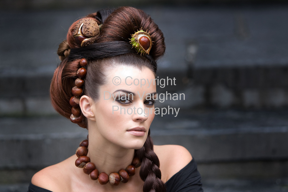 25/10/2007.free picture no charge for use..For a Hair Raising Experience with a difference get to the Irish Conker Championships in Freshford, Co. Kilkenny on Sunday 28th..Model Karen Fitzpatrick pictured with a conker hair creation by Ann McDonagh a stylist at Kieran O' Gorman Hair Beauty & Day Spa in KIlkenny ahead of this weekends Irish Conker Festival that will be held in Freshford County Kilkenny on Sunday..Picture Dylan Vaughan..