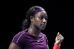 October 22, 2018 - Singapore, Singapore - Sloane Stephens of the United States reacts to winning a point during the match between Naomi Osaka and Sloane Stephens on day 2 of the WTA Finals at the Singapore Indoor Stadium. (Credit Image: © Paul Miller/ZUMA Wire)