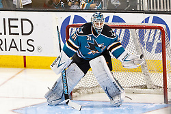 Mar 24, 2012; San Jose, CA, USA; San Jose Sharks goalie Antti Niemi (31) warms up before the game against the Phoenix Coyotes at HP Pavilion. Mandatory Credit: Jason O. Watson-US PRESSWIRE