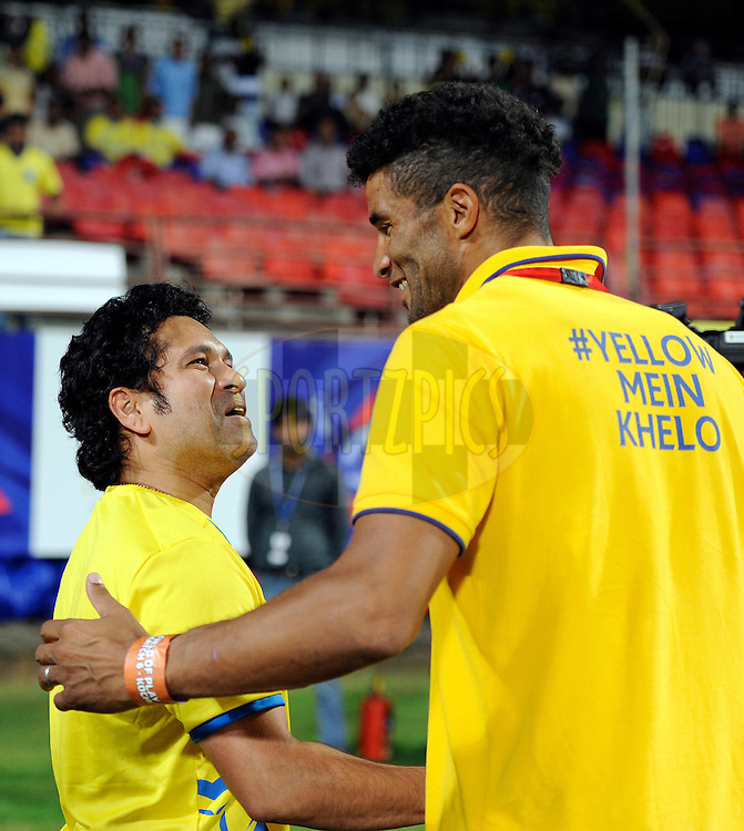 Sachin Tendulkar, former Indian cricket player and co-owner Kerala Blasters FC shakes hand with David James of Kerala Blasters FC during match 49 of the Hero Indian Super League between Kerala Blasters FC and North East United FC held at the Jawaharlal Nehru Stadium, Kochi, India on the 30th November.<br /> <br /> Photo by:  Pal Pillai/ ISL/ SPORTZPICS