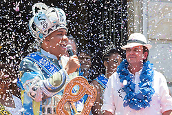 """""""King Momo"""" Wilson Neto (L) speaks during the official opening ceremony of Rio de Janeiro's 2015 Carnival at the City Palace in Rio de Janeiro, Brazil, Feb. 13, 2015. EXPA Pictures © 2015, PhotoCredit: EXPA/ Photoshot/ Xu Zijian<br /> <br /> *****ATTENTION - for AUT, SLO, CRO, SRB, BIH, MAZ only*****"""