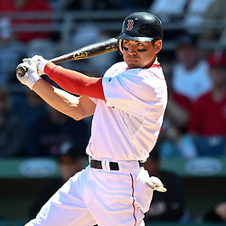 March 12, 2011; Fort Myers, FL, USA; Boston Red Sox left fielder Jacoby Ellsbury (2) connects on a one run double during a spring training exhibition game against the Florida Marlins at City of Palms Park. The Red Sox defeated the Marlins 9-2.  Mandatory Credit: Derick E. Hingle