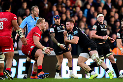 Sam Simmonds of Exeter Chiefs is challenged by Vincent Koch of Saracens - Mandatory by-line: Ryan Hiscott/JMP - 29/12/2019 - RUGBY - Sandy Park - Exeter, England - Exeter Chiefs v Saracens - Gallagher Premiership Rugby
