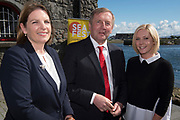 Repro Free:   Ms. Caroline Bocquel. Director of Corporate Services marine Institute, Minister Creed and Aislinn O'Driscoll from Schull Co Cork at the Launch of SEAFEST and  Ireland&rsquo;s first &ldquo;Sea Science - the Wild Atlantic&rdquo;   at Galway City Museum . <br />  Photo:Andrew Downes, xposure