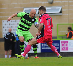 Forest Green Rovers's David Pipe and Dover Athletic's Nicky Deverdics battle for the ball - Photo mandatory by-line: Nizaam Jones - Mobile: 07966 386802 - 25/04/2015 - SPORT - Football - Nailsworth - The New Lawn - Forest Green Rovers v Dover - Vanarama Conference League