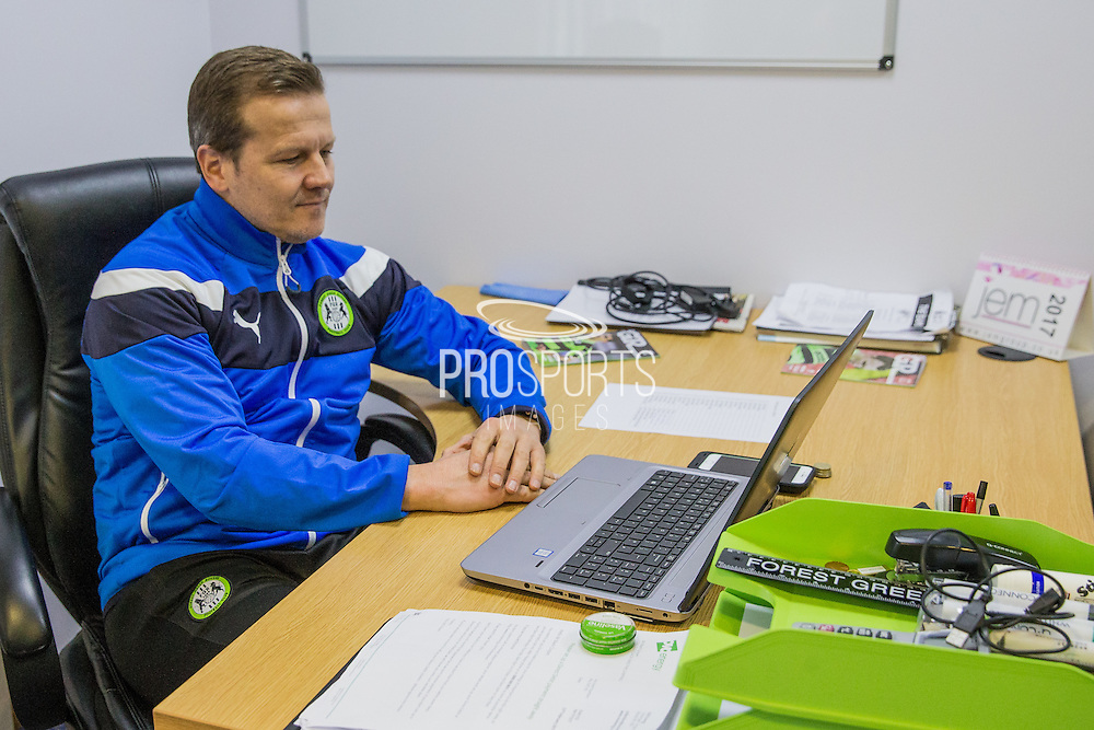 Forest Green Rovers manager, Mark Cooper sat in his office during the Vanarama National League match between Forest Green Rovers and Macclesfield Town at the New Lawn, Forest Green, United Kingdom on 4 March 2017. Photo by Shane Healey.