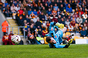 Fleetwood Town goalkeeper Alex Cairns (21)  saves during the EFL Sky Bet League 1 play off first leg match between Bradford City and Fleetwood Town at the Coral Windows Stadium, Bradford, England on 4 May 2017. Photo by Simon Davies.