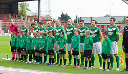 WREXHAM, WALES - Saturday, May 3, 2014: Aberystwyth Town players line-up before the Welsh Cup Final against The New Saints at the Racecourse Ground. (Pic by David Rawcliffe/Propaganda)