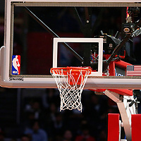 25 March 2016: Close view of a basket with the NBA logo during the Los Angeles Clippers 108-95 victory over the Utah Jazz, at the Staples Center, Los Angeles, California, USA.