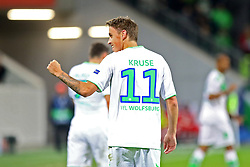 21.10.2015, Volkswagen Arena, Wolfsburg, GER, UEFA CL, VfL Wolfsburg vs PSV Eindhoven, Gruppe B, im Bild Max Kruse (#11, VfL Wolfsburg) freut sich ueber seinen Treffer zum 2:0 // during UEFA Champions League group B match between VfL Wolfsburg and PSV Eindhoven at the Volkswagen Arena in Wolfsburg, Germany on 2015/10/21. EXPA Pictures © 2015, PhotoCredit: EXPA/ Eibner-Pressefoto/ Hundt<br /> <br /> *****ATTENTION - OUT of GER*****