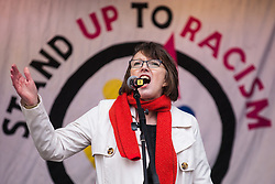 London, UK. 16th March, 2019. Frances O'Grady, General Secretary of the Trades Union Congress (TUC), addresses thousands of people on the March Against Racism demonstration on UN Anti-Racism Day against a background of increasing far-right activism around the world and a terror attack yesterday on two mosques in New Zealand by a far-right extremist which left 49 people dead and another 48 injured.