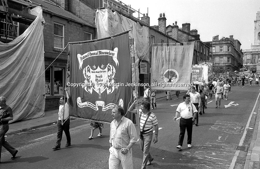 South Wales Area banner. NUM Centenary Demonstration and Gala, Barnsley.