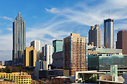 View of the downtown Atlanta skyline from the Georgia Aquarium parking deck