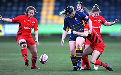 Lauren Leatherland of Worcester Valkyries is tackled by Nina Vistisen of Saracens Women- Mandatory by-line: Nizaam Jones/JMP - 01/12/2018 - RUGBY - Sixways Stadium - Worcester, England - Worcester Valkyries v Saracen Women- Tyrrells Premier 15s