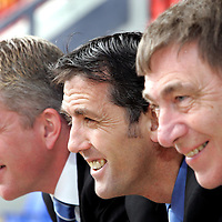 St Johnstone manager Owen Coyle (centre) pictured with his assistant Jim Weir (left) and Chairman Geoff Brown who has today extended the contracts of Coyle and Weir. Owen Coyle was also awarded the Bells Manager of the Month award for March<br /> see story by Gordon Bannerman Tel: 01738 553978 or 07729 865788<br /> Picture by Graeme Hart.<br /> Copyright Perthshire Picture Agency<br /> Tel: 01738 623350  Mobile: 07990 594431