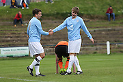 Dundee scorers Kevin Milne (left) and Johnny McBride - Dundee (light blue) v Dundee United (Tangerine) - fans charity derby at Thomson Park, Lochee in aid Cancer Research UK<br /> <br />  - &copy; David Young - www.davidyoungphoto.co.uk - email: davidyoungphoto@gmail.com