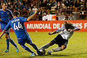 San Jose Earthquakes defender Clarence Goodson (44) and Montreal Impact forward Daniele Paponi (35) battle for a loose ball in the second half of the game at Buck Shaw Stadium in Santa Clara, California, on September 17, 2013.  The San Jose Earthquakes beat Montreal Impact 3-0. (Stan Olszewski/QMI Agency)