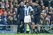 Brighton and Hove Albion striker Jurgen Locadia (9) is taken off injured during the The FA Cup 5th round match between Brighton and Hove Albion and Derby County at the American Express Community Stadium, Brighton and Hove, England on 16 February 2019.