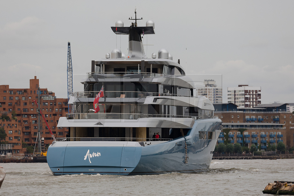 © Licensed to London News Pictures. 12/09/2018. London, UK.  Billionaire Spurs owner, Joe Lewis's 321 feet long luxury superyacht Aviva leaves London on the River Thames following a London visit. Aviva, worth an estimated £113m is one of a growing number of superyachts to visit the capital this year and moored near Butlers Wharf for a number of weeks, during which wealthy homeowners criticised the Spurs owner for spoiling their river view.  Photo credit: Vickie Flores/LNP