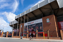 LIVERPOOL, ENGLAND - Monday, August 3, 2020: Images of Liverpool's captain Jordan Henderson, Virgil van Dijk and Mohamed Salah wearing the new Nike home shirt on the Spion Kop at Anfield. Liverpool's new kit supplier Nike replaces New Balance in a five year deal reported to be worth $39.5 per year. (Pic by David Rawcliffe/Propaganda)
