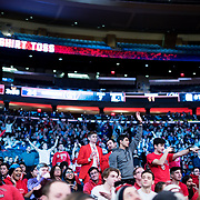January 9, 2018, New York, NY : St. John's fans call out during the t-shirt toss as they attend Tuesday night's matchup between the Hoyas and Red Storm at the Garden. In something of a rematch of their 1985 contest, Basketball greats Patrick Ewing and Chris Mullin returned to Madison Square Garden on Tuesday night to face off as coaches with their respective Georgetown and St. John's teams.  CREDIT: Karsten Moran for The New York Times