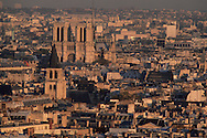France. Paris. 7th district. Elevated view.  Paris panorama view from the dome of the invalid church,