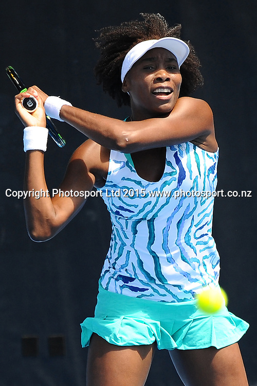 Venus Williams of the USA during her Singles Finals match against Danish player Caroline Wozniacki at the ASB Classic Women's International. ASB Tennis Centre, Auckland, New Zealand. Saturday 10 January 2015. Copyright photo: Chris Symes/www.photosport.co.nz